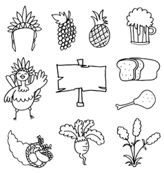 Hand draw of thanksgiving element set doodles vector