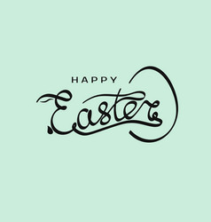 hand drawn inscription happy easter with rabbit vector image