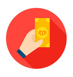 hand holding bitcoin circle icon vector image