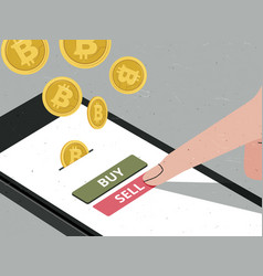 Hand pressing sell button to sell bitcoin vector