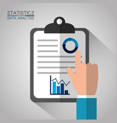 hand with clipboard diagram statistics data vector image