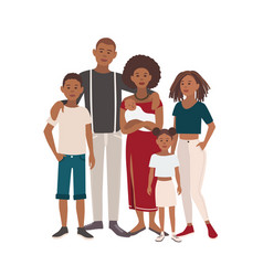 Happy large black family portrait father mother vector