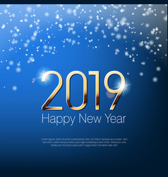 Happy new year 2019 snowy greeting card template vector