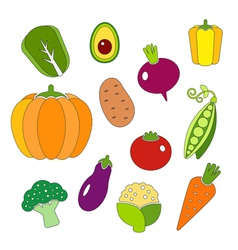 Healthy diet icons fresh organic vegetables vector image