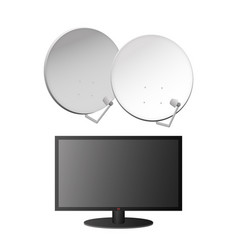 icons of tv and satellite dishes vector image