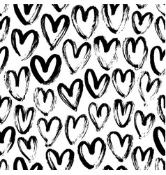 Ink brush hearts hand drawn seamless pattern vector