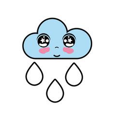 kawaii nice tender cloud raining vector image