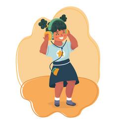 kids girl love music vector image