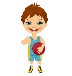 Little boy holding basketball vector