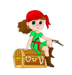 Little girl pirate vector
