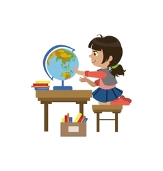Little Girl Playing With Globe vector