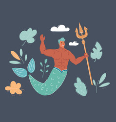 Male mermaid on dark vector