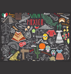 Mexico hand drawn sketch set chalkboard vector