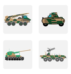 Monochrome icon set with military equipment vector