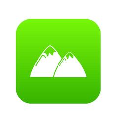 mountain icon green vector image