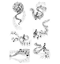 Musical waves with music notes vector image