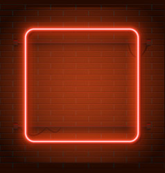 neon lamp casino rectangel frame on brick wall vector image