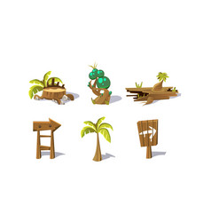 palm tree wooden signs fantastic plant elements vector image
