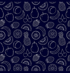 pattern with hand drawn fruits vector image