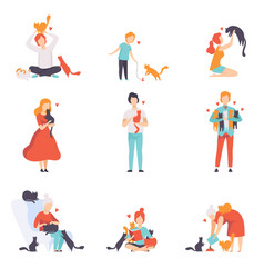 People caring feeding and playing with their cats vector