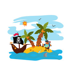 pirate parrot deserted island raider boat with vector image