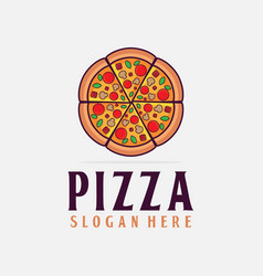Pizza logo pizzeria fast food junk food delivery vector