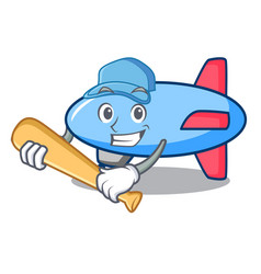 Playing baseball zeppelin character cartoon style vector