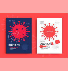 red medical poster with simple novel coronavirus vector image