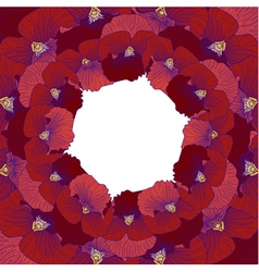 Red pansy flower frame vector image