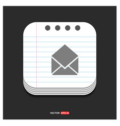 send mail icon gray icon on notepad style vector image
