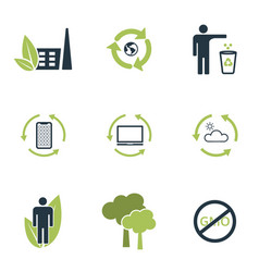 set ecology icons with gree elements vector image