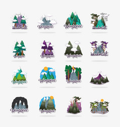 set ice mountains with clouds and pine trees vector image