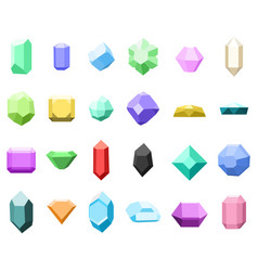 set of 16 diamonds gemstone icons set vector image