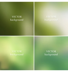 Set of green blurred backgrounds vector
