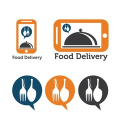 set of mobile food delivery icons vector image