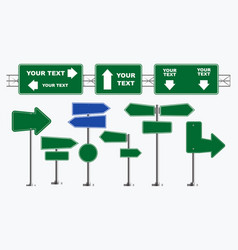 set of road signs isolated vector image