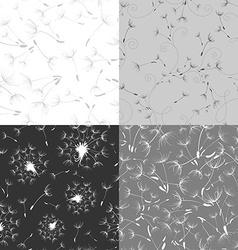 Set of seamless dandelion textures vector