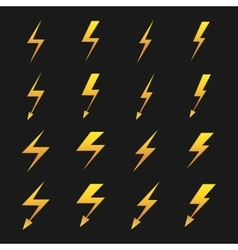Set of yellow lightnings isolated over black vector