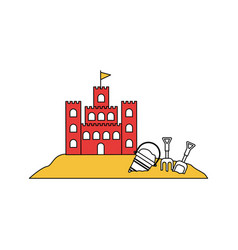 Silhouette color section of sand castle with toy vector