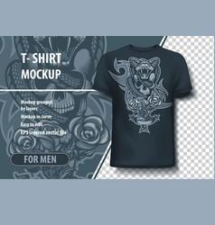 snake enveloped skull and roses t-shirt template vector image