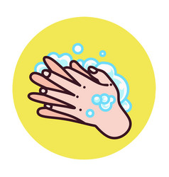 someone washing their hands with liquid soap vector image