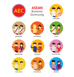 southeast asia people in traditional clothing vector image