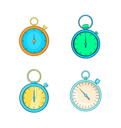 stopwatch icon set cartoon style vector image