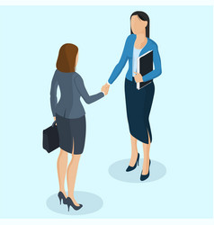 Successful businesswomen handshaking vector
