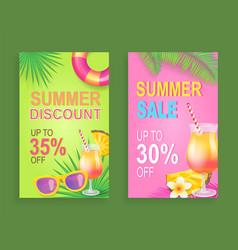 Summer discount sale posters vector