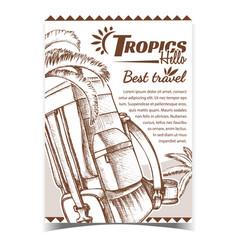 Tropics travel tourist backpack banner vector