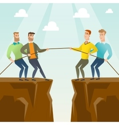 Two groups of business people pulling rope vector