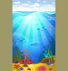 Underwater- seabed with corals vector