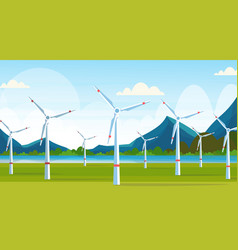 wind turbines field clean alternative energy vector image