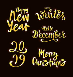 winter set gold inspiration lettering quotes vector image
